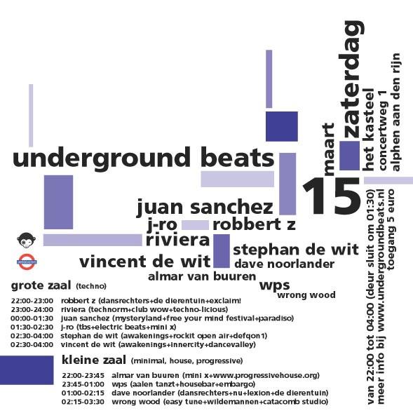 Underground Beats 15 September 2008 Achterzijde