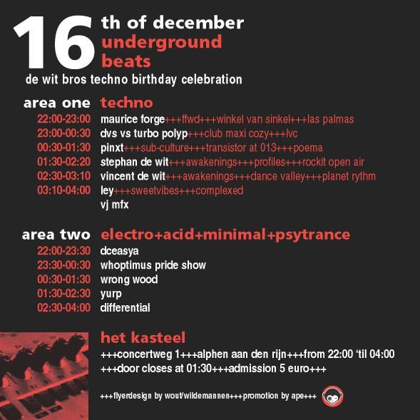 Underground Beats 16 December 2006 Achterzijde