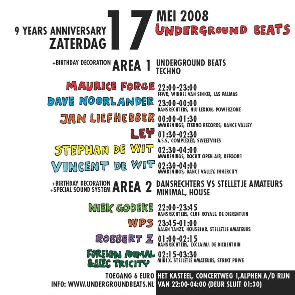 Underground Beats 17 Mei 2008 Achterzijde