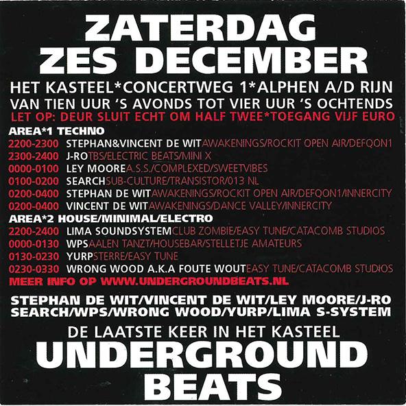 Underground Beats 6 December 2005 Achterzijde